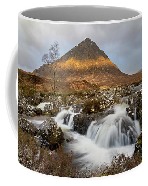 Mountain Coffee Mug featuring the photograph Buachaille Etive Waterfalls by Jos Pannekoek