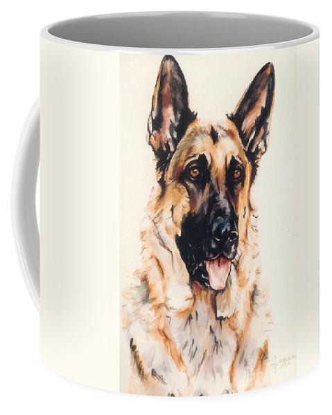 German Shepherd Coffee Mug featuring the painting Bubba by Suzanne Leonard