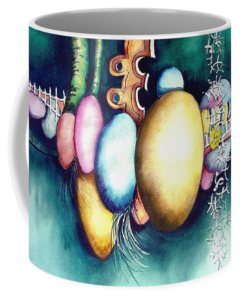 Frog Coffee Mug featuring the painting Bubble Frog by Sam Sidders