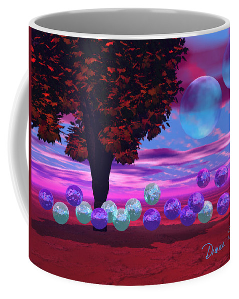 Red Coffee Mug featuring the digital art Bubble Garden by Diane Clancy