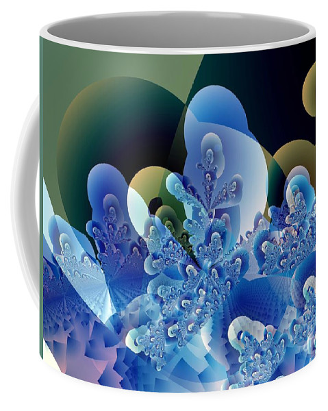 Fractal Art Coffee Mug featuring the digital art Bubbles and Sharp Points by Ron Bissett