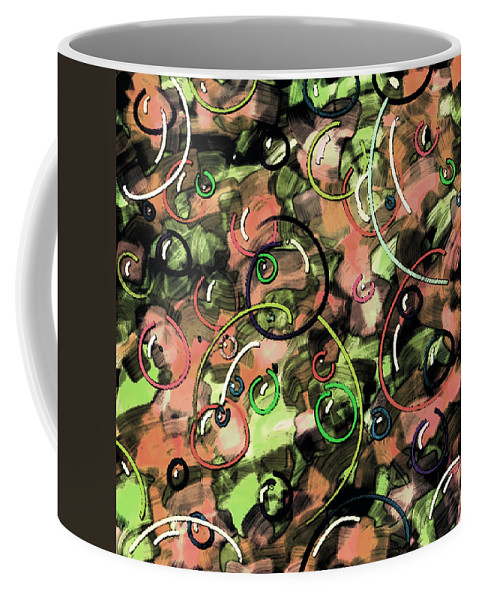 Abstract Coffee Mug featuring the digital art Bubbles by Rachel Christine Nowicki