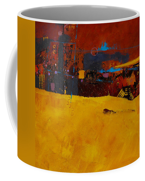 ruth Palmer Abstract Color Geometric Circles Irregular Lines Orange Coral Pink Blue Yellow Coffee Mug featuring the painting Bubbles Rising by Ruth Palmer