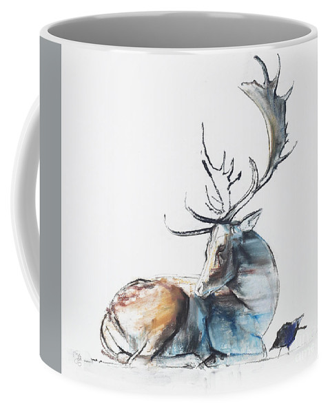 Wildlife Coffee Mug featuring the painting Buck And Bird by Mark Adlington
