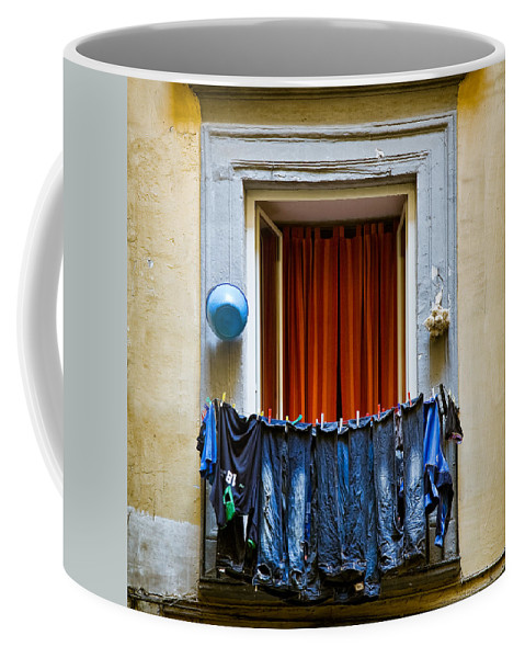 Clothes Coffee Mug featuring the photograph Bucket - Garlic And Jeans by Dave Bowman