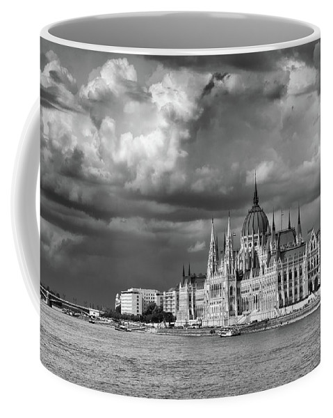 Architecture Coffee Mug featuring the photograph Budapest Parliament From The Chain Bridge by Russ Dixon