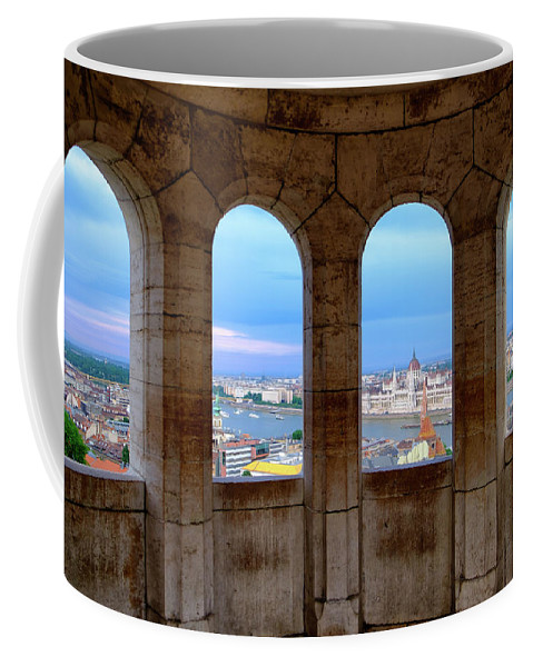Architecture Coffee Mug featuring the photograph Budapest Parliament From The Fishermans Bastion by Russ Dixon