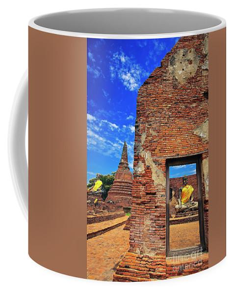 Southeast Asia Coffee Mug featuring the photograph Buddha Doorway At Wat Worachetha Ram In Ayutthaya, Thailand by Sam Antonio Photography