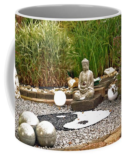 Buddha Coffee Mug featuring the photograph Buddha Looks At Yin And Yang by Eva-Maria Di Bella