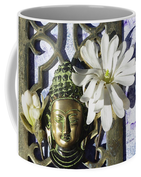 Buddha With Magnolias Oversize Canvas Print Coffee Mug featuring the photograph Buddha - Spring by Betty Pehme
