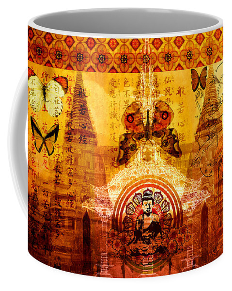 Buddha Coffee Mug featuring the digital art Buddha With Butterflies by Tammy Wetzel