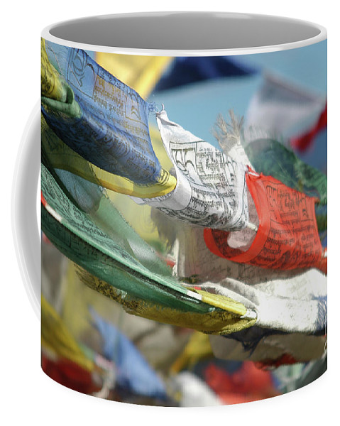 Psi Coffee Mug featuring the photograph Buddhist Prayer Flags by Shay Fogelman