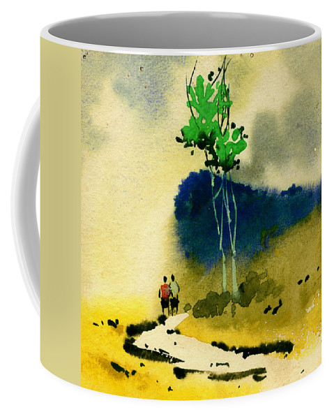 Landscape Coffee Mug featuring the painting Buddies by Anil Nene