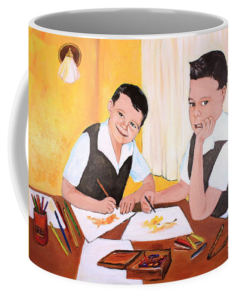 Children Coffee Mug featuring the painting Budding Artists by Sarah Hamilton