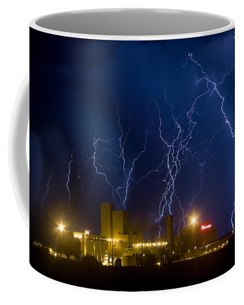 Lightning Coffee Mug featuring the photograph Budweiser Brewery Storm by James BO Insogna