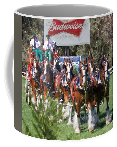 Alicegipsonphotographs Coffee Mug featuring the photograph Budweiser Clydesdales Perfection by Alice Gipson