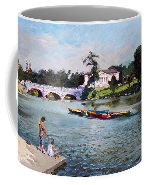 Landscape Coffee Mug featuring the painting Buffalo Fishing Day by Ylli Haruni
