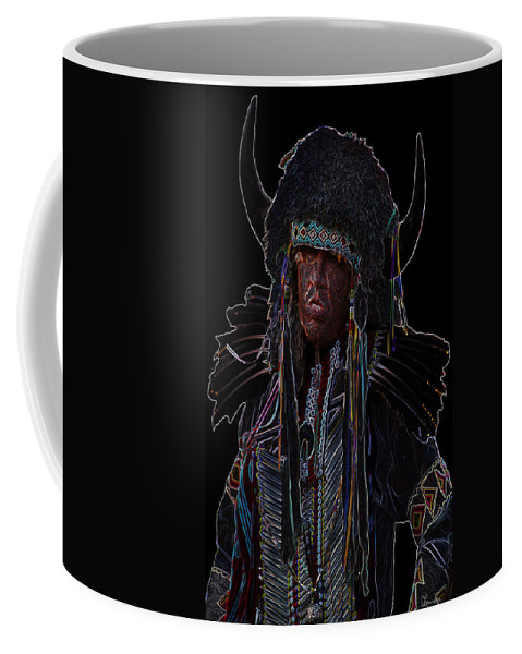 Native First Nations Art Costumes Indian Aboriginal Feathers Buffalo Headdress Pow-wow Dancer Saskatchewan Competition Coffee Mug featuring the photograph Buffalo Hunter by Andrea Lawrence