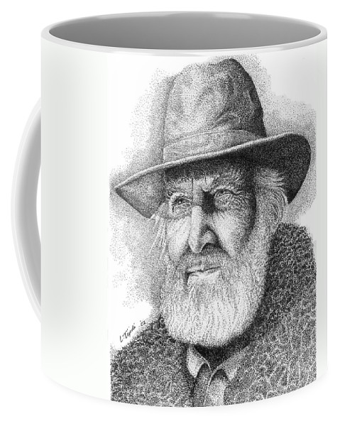 Western Coffee Mug featuring the drawing Buffalo Hunter by Lawrence Tripoli