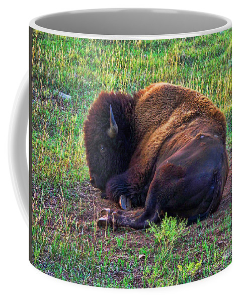Buffalo Coffee Mug featuring the photograph Buffalo In The Badlands by Tommy Anderson