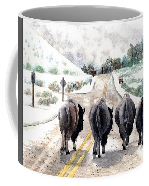 Buffalo Coffee Mug featuring the painting Buffalo Jam by Tammy Crawford
