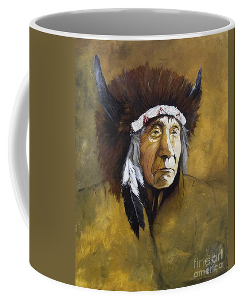 Shaman Coffee Mug featuring the painting Buffalo Shaman by J W Baker