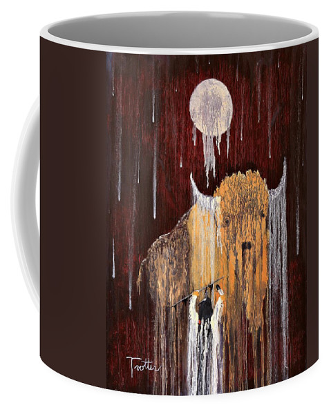 Native Art Coffee Mug featuring the painting Buffalo Spirit by Patrick Trotter