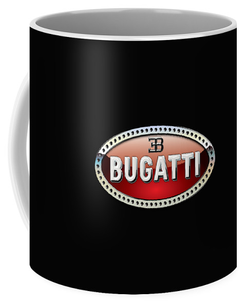 �wheels Of Fortune� Collection By Serge Averbukh Coffee Mug featuring the photograph Bugatti - 3 D Badge on Black by Serge Averbukh
