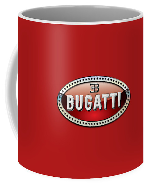 �wheels Of Fortune� Collection By Serge Averbukh Coffee Mug featuring the photograph Bugatti - 3 D Badge On Red by Serge Averbukh
