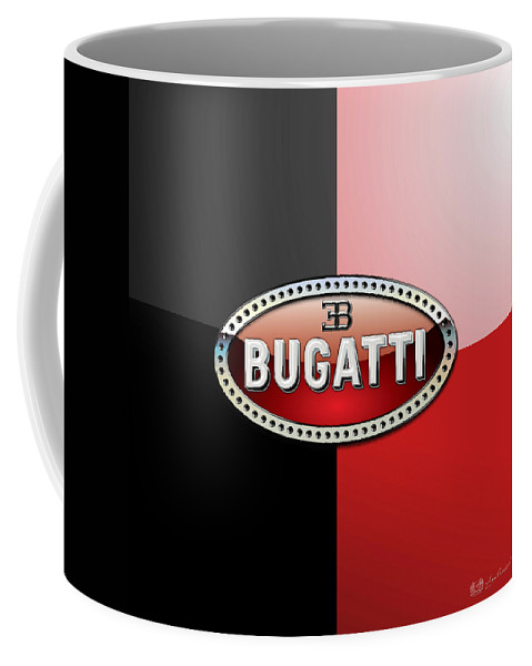 Wheels Of Fortune By Serge Averbukh Coffee Mug featuring the photograph Bugatti 3 D Badge on Red and Black by Serge Averbukh