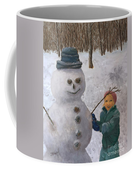 Child Coffee Mug featuring the painting Building A Snowman by J O Huppler