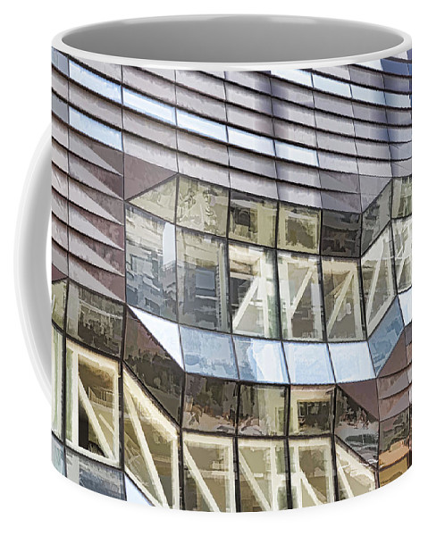 Abstract Coffee Mug featuring the painting Building Closeup In Manhattan 10 by Jeelan Clark