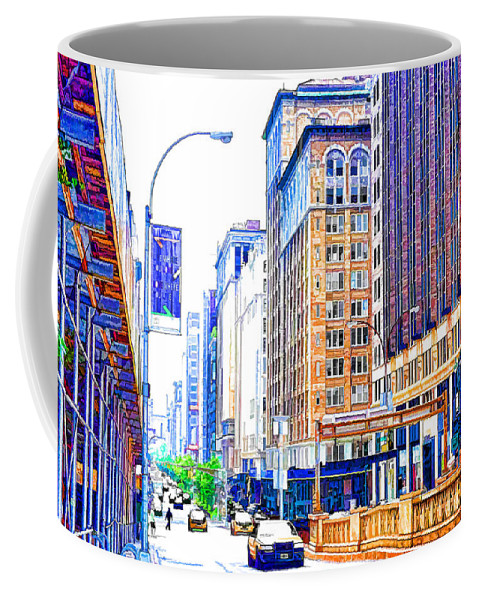 Abstract Coffee Mug featuring the painting Building Closeup In Manhattan 18 by Jeelan Clark
