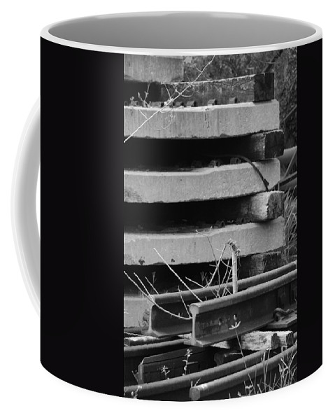 Black And White Coffee Mug featuring the photograph Building Tracks by Rob Hans