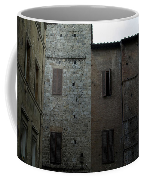 Photography Coffee Mug featuring the photograph Buildings On A Side Street In Siena by Todd Gipstein