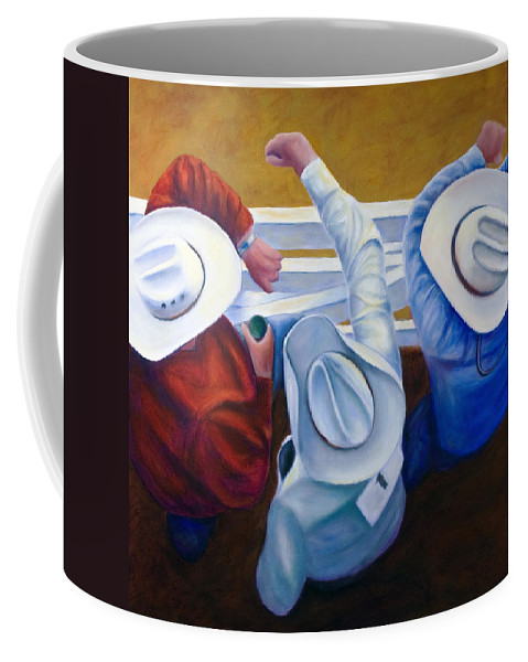 Western Coffee Mug featuring the painting Bull Chute by Shannon Grissom