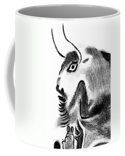 Bull Coffee Mug featuring the drawing Bull by Michal Boubin