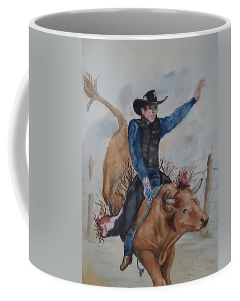 Ride'm Cowboy! Bull Rider Coffee Mug featuring the painting Bull Rider by Charme Curtin