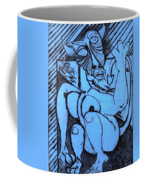 Clay Coffee Mug featuring the painting Bull by Thomas Valentine