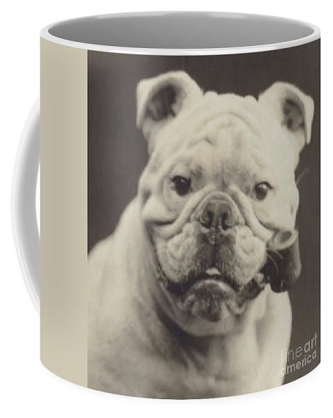 Bulldog Coffee Mug featuring the photograph Bulldog Smoking A Pipe by English School