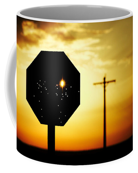 Stop Coffee Mug featuring the photograph Bullet-riddled Stop Sign by Todd Klassy