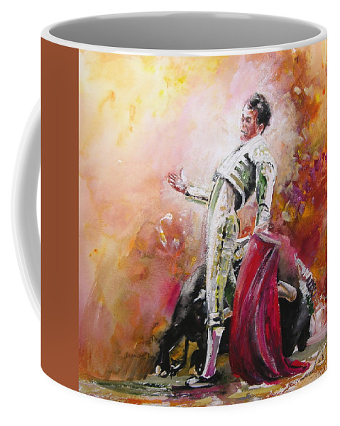Animals Coffee Mug featuring the painting Bullfight 24 by Miki De Goodaboom
