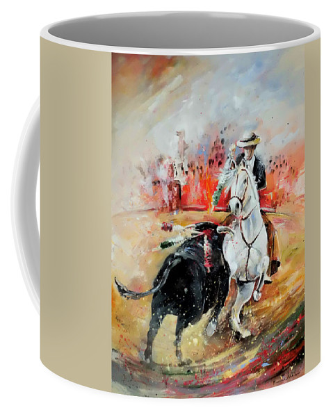 Toros Coffee Mug featuring the painting Bullfight 3 by Miki De Goodaboom