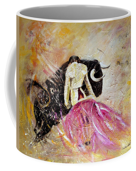 Animals Coffee Mug featuring the painting Bullfight 74 by Miki De Goodaboom