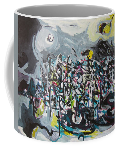 Abstract Paintings Coffee Mug featuring the painting Bummer Flat11 by Seon-Jeong Kim