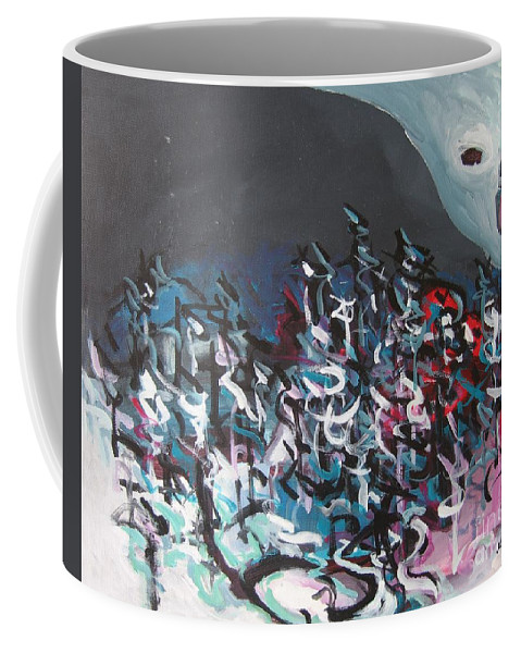 Abstract Paintings Coffee Mug featuring the painting Bummer Flat7 by Seon-Jeong Kim