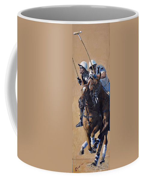 Polo Coffee Mug featuring the painting Bump by Mark Robinson