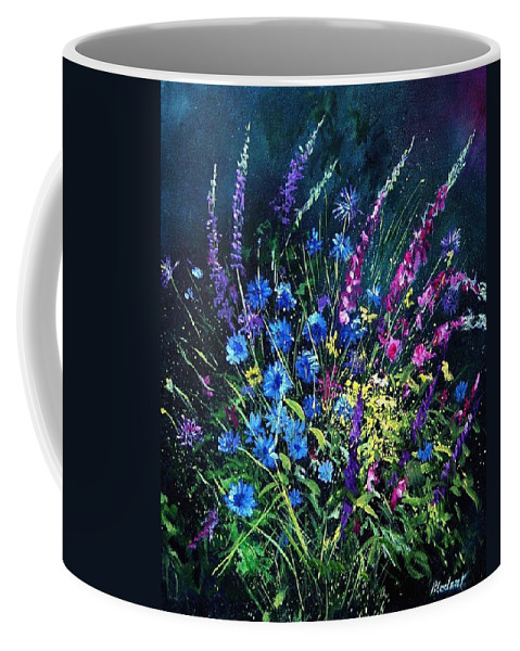 Poppies Coffee Mug featuring the painting Bunch Of Wild Flowers by Pol Ledent