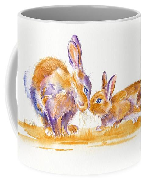 Bunnies Coffee Mug featuring the painting Bunnies by Debra Hall