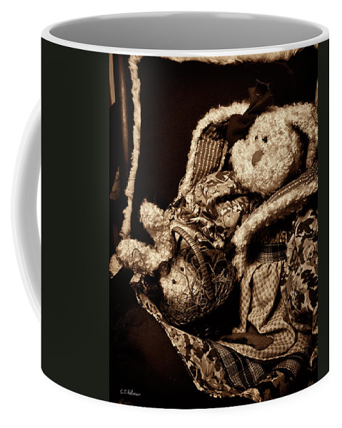 Bunny Coffee Mug featuring the photograph Bunny With Her Bunny - Sepia by Christopher Holmes